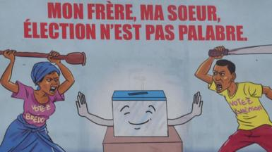 An electoral poster in Ivory Coast urging against violence
