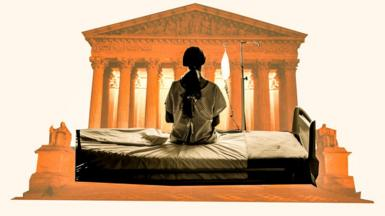 Supreme Court stylised image with patient bed