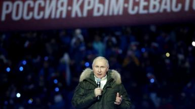 Russian President Vladimir Putin speeches during a concert marking the 7th anniversary of Crimea annexation, on March 18, 2021 in Moscow, Russia
