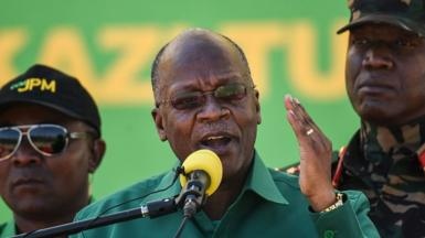 John Magufuli (C) speaks during the official launch of his party's campaign for the October general election at the Jamhuri stadium in Dodoma, Tanzania, August 29, 2020.