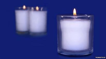 Yahrzeit candles, used in Jewish mourning ceremonies