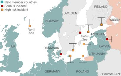 Map showing incidents involving Russia and Nato