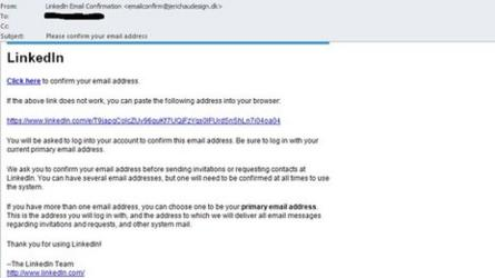 LinkedIn scam email screenshot