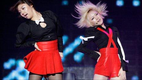 South Korea pop stars in action