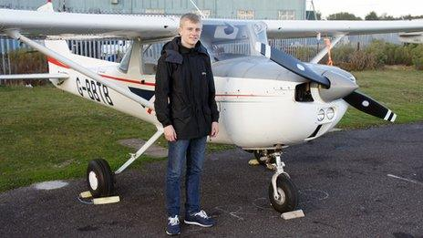 Josh Morgan, 16, and his Cessna C150