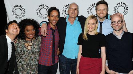 Chevy Chase (centre in blue shirt) with the rest of the Community cast
