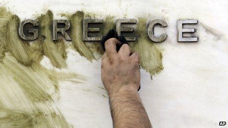 Graffiti is wiped off a Greek sign