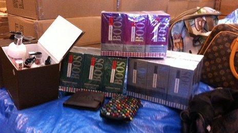 Counterfeit cosmetics, perfume and bags
