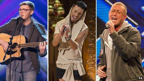 James Arthur, Rylan Clark and Christopher Maloney