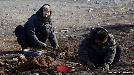 Digging workers in North Korea