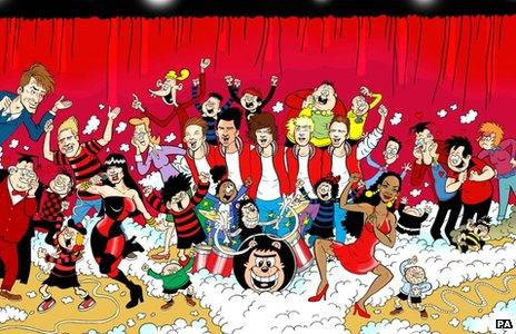 One Direction in the BeanoMAX with Dennis the Menace and other characters