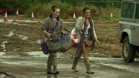 People leaving Creamfields