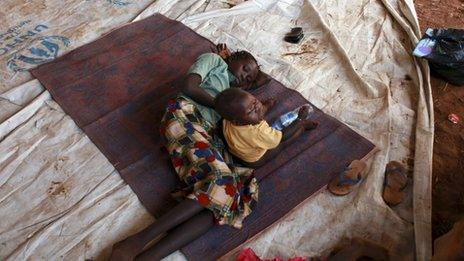 A mother and child at the Yida refugee camp in South Sudan