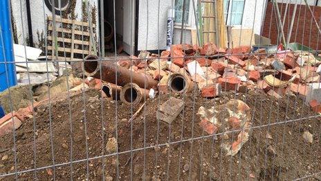 Bricks on building site