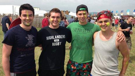 Conor MacMan (second left) and his friends