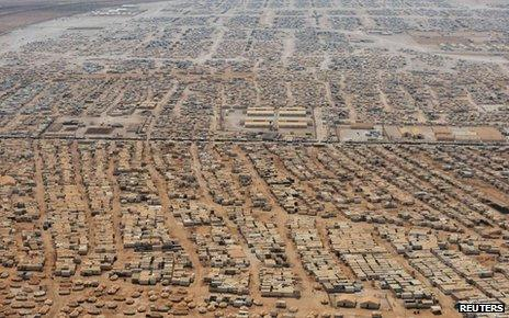An aerial view shows the Zaatari refugee camp