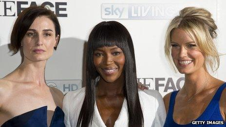 Erin O'Connor, Naomi Campbell and Caroline Winberg