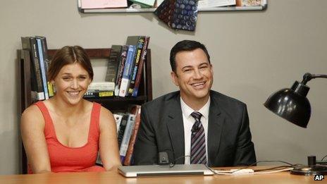 Jimmy Kimmel with Daphne the twerk girl