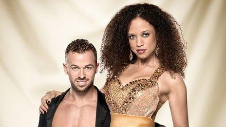 Artem Chigvintsev and Natalie Gumede performing on Strictly Come Dancing