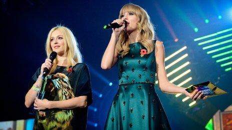 Taylor Swift (right) joined Fearne Cotton to give out best British TV show award