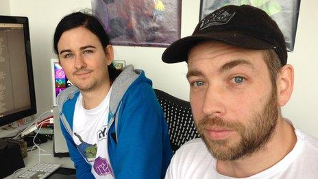 Game developers Gaz Bushell and Harry Jackson from Fayju