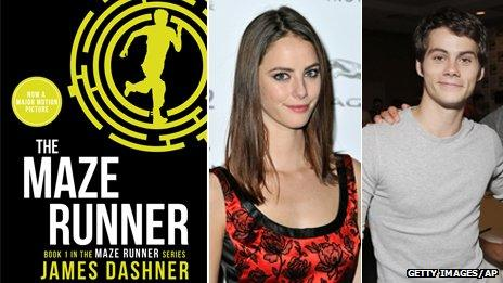 The Maze Runner book cover, Kaya Scoledario and Dylan O'Brien