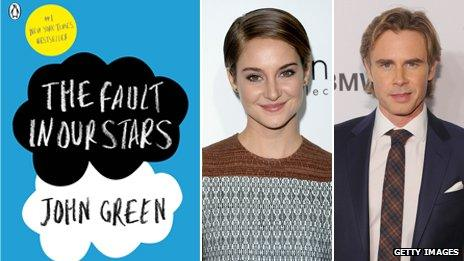 The Fault in Our Stars book cover, Shailene Woodley and Sam Trammell