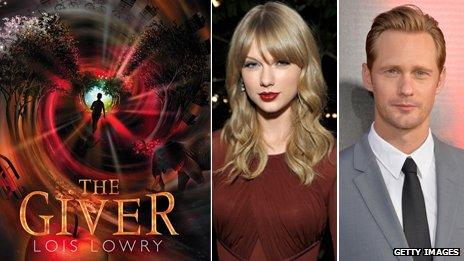 The Giver book cover, Taylor Swift and Alexander Skarsgard