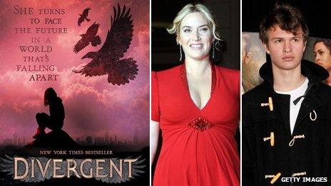Divergent book cover, Kate Winslet and Ansel Elgort