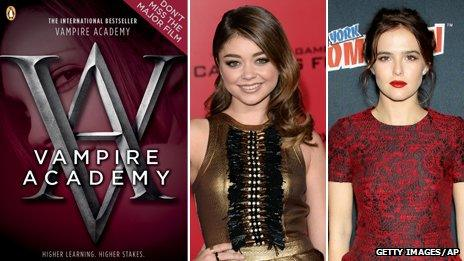 Vampire Academy book cover, Sarah Hyland and Zoey Deutch