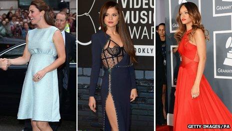 The Duchess of Cambridge, Selena Gomez and Rihanna