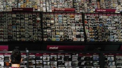 HMV shelves