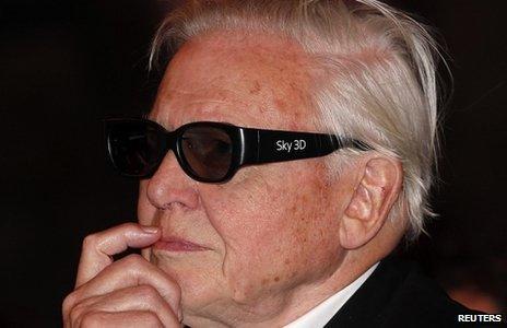 Sir David Attenborough wearing 3D glasses
