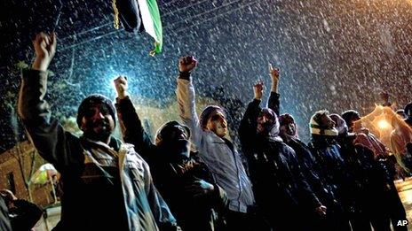 Free Syrian Army supporters chant anti government slogans