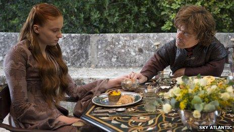 Sophie Turner and Peter Dinklage as Sansa Stark and Tyrion Lannister