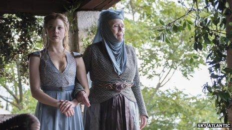 Natalie Dormer and Diana Rigg as Margaery Tyrell and Olenna Tyrell