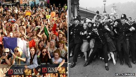 Fans of One Direction and The Beatles