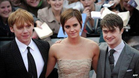 Rupert Grint, Emma Watson and Daniel Radcliffe, stars of the Harry Potter films