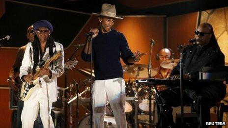 Pharrell Williams, Nile Rogers and Stevie Wonder