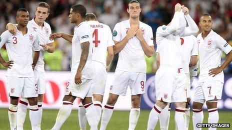Distraught England players