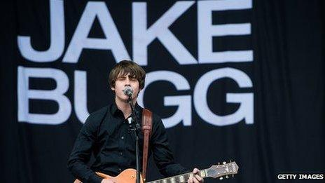 Jake Bugg playing at Glastonbury Festival