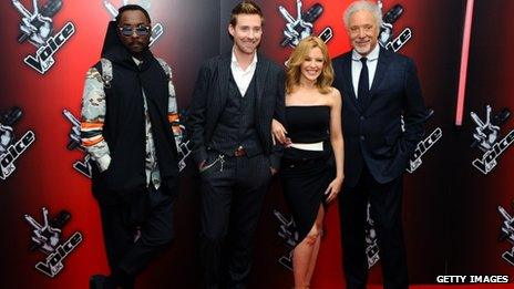 The Voice UK coaches; Will.I.Am, Ricky Wilson, Kylie Minogue and Sir Tom Jones