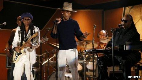 Pharrell Williams, Nile Rogers and Stevie Wonder