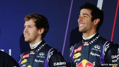 Daniel Ricciard (right) is Vettel's Red Bull team mate