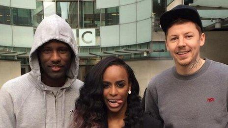 Wretch 32, Angel Haze and Professor Green (lefrt-right) are taking part in the ride