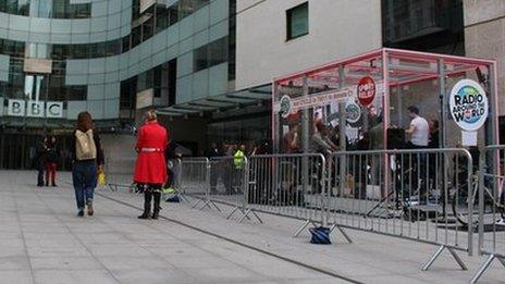 The challenge is taking place in a transparent box outside BBC Broadcasting House