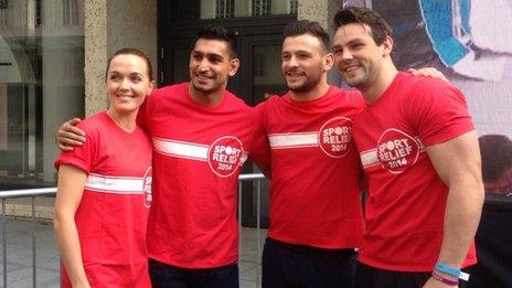 Cyclist Victoria Pendleton, boxer Amir Khan and rugby players Danny Care and Ben Foden (left-right) have helped in the cycle challenge