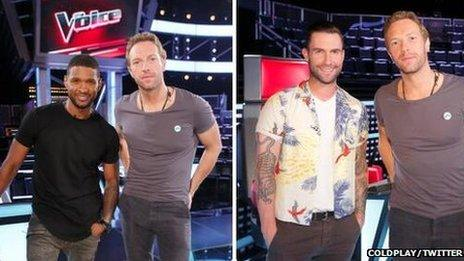 Chris Martin will appear with Usher (left) and Adam Levine's (right) on the show