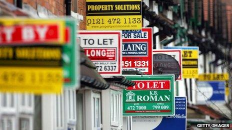 To let signs on a row of houses