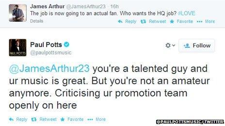Paul Potts replies to James Arthur's comments